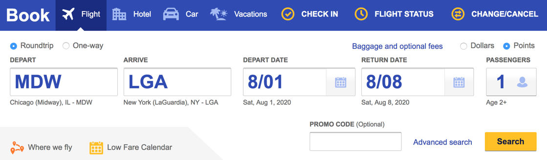 Searching for award flights on the Southwest website
