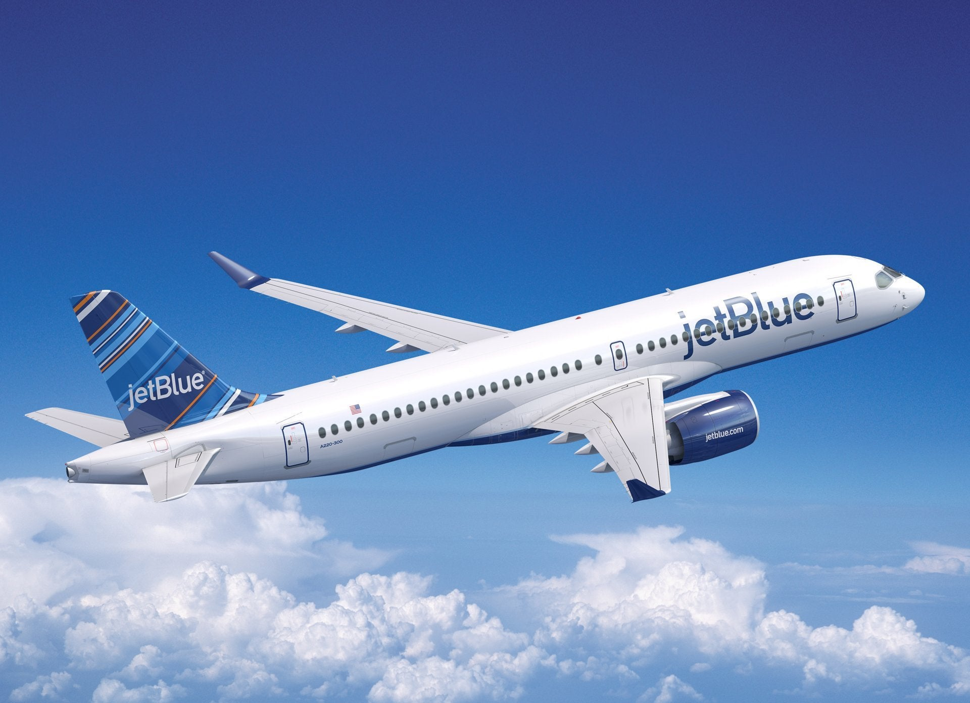 A rendering of a JetBlue A220-300. (Image courtesy of Airbus)