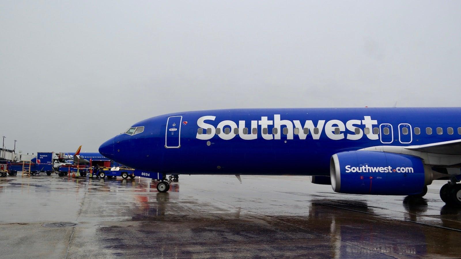 Southwest 737 pulling into gate