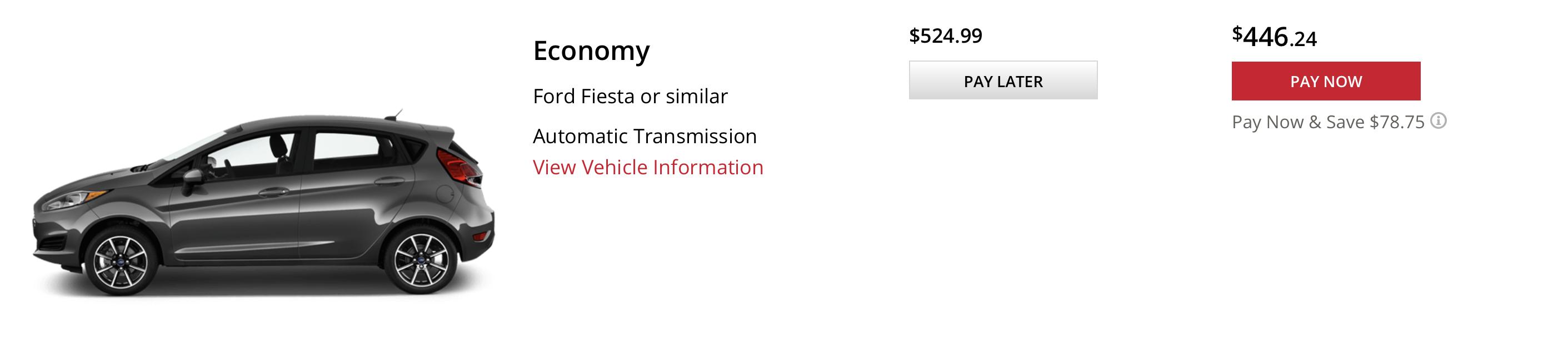 Avis economy car rental price at ORD