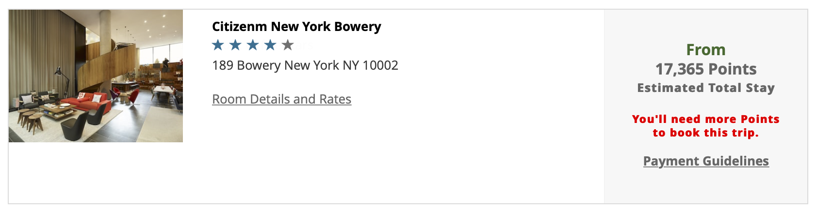 Booking CitizenM Bowery with Rapid Rewards points
