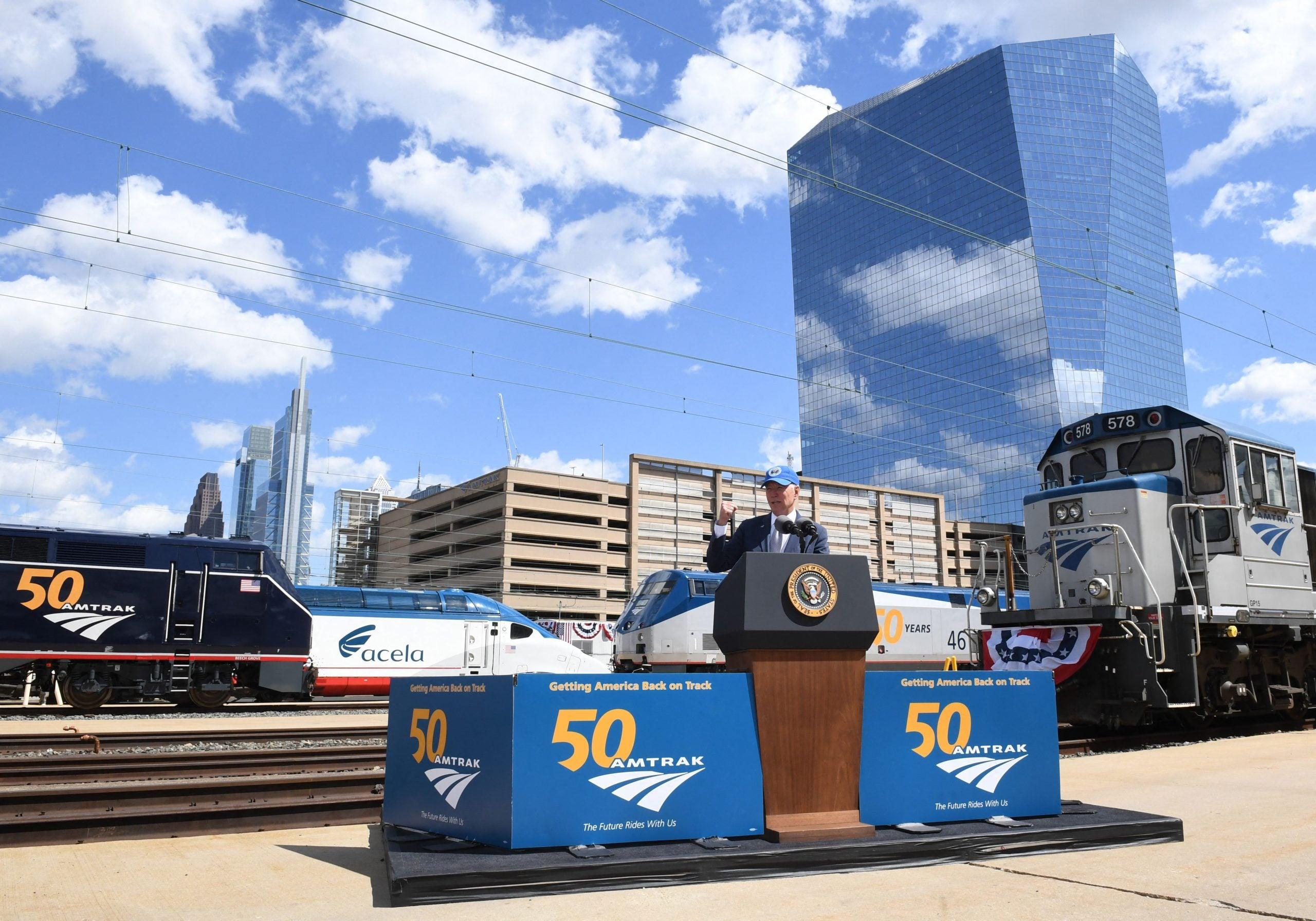 President Biden celebrates 50 years of Amtrak with $80 billion infrastructure push