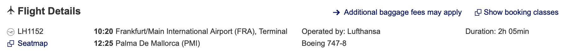Frankfurt to Mallorca Lufthansa flight details