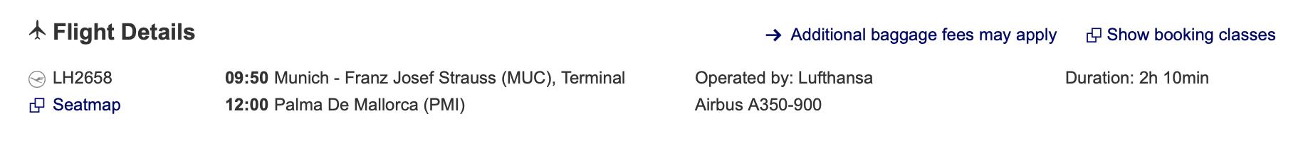 Munich to Mallorca Lufthansa flight details