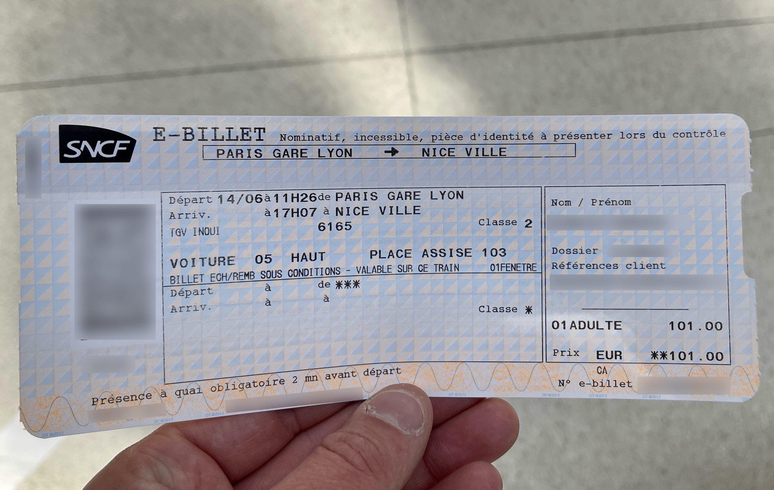 SNCF TGV train ticket from Paris to Nice
