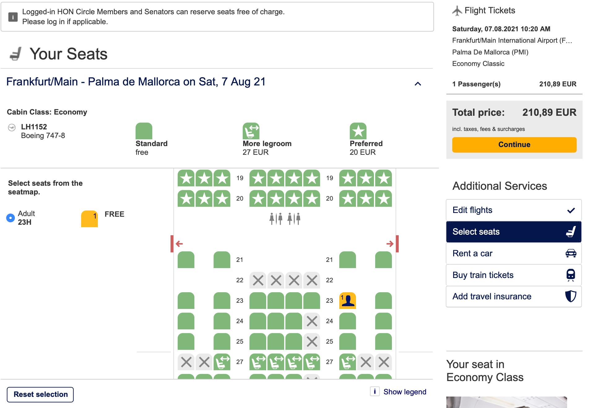 Selecting seat on Lufthansa website