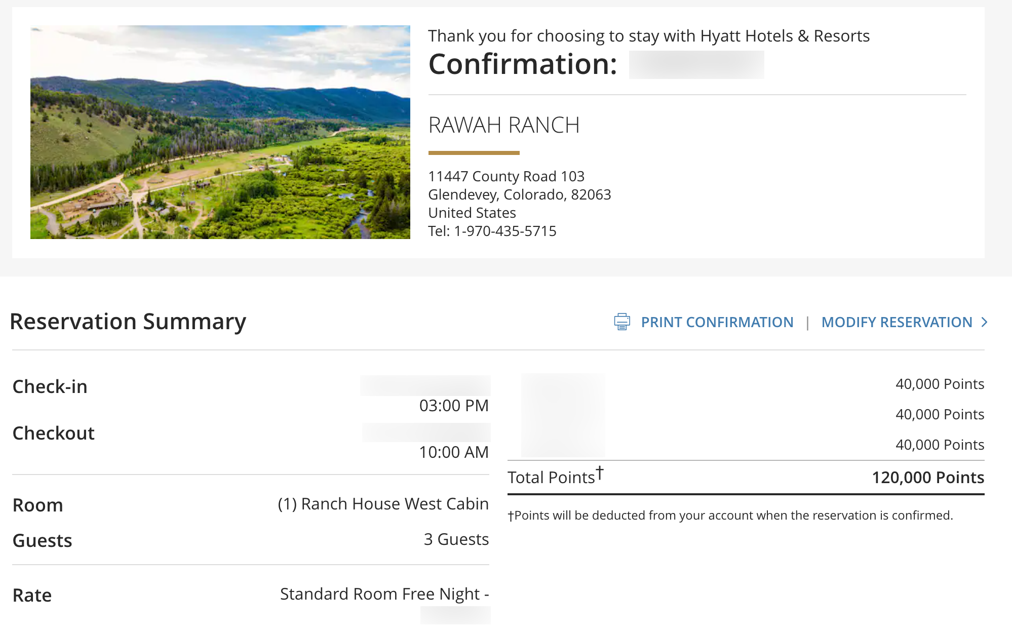 Reservation confirmation using Hyatt points at Rawah Ranch