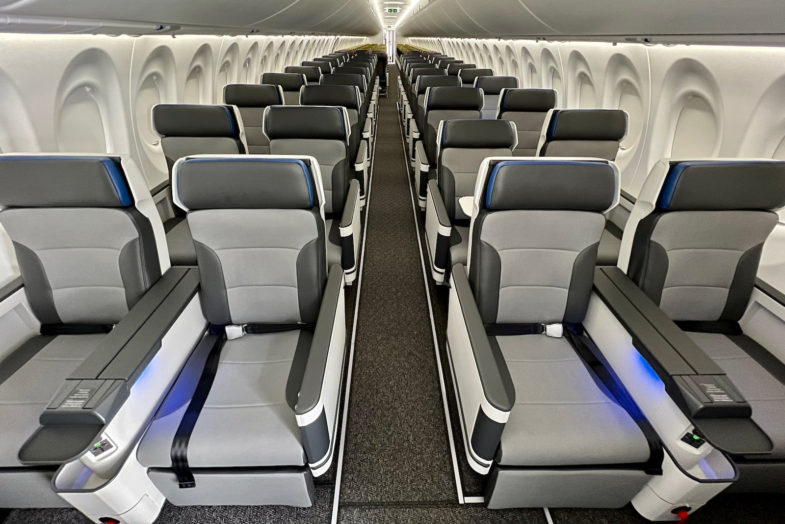Inside Breeze Airways' swanky Airbus A220 with 36 first-class recliners